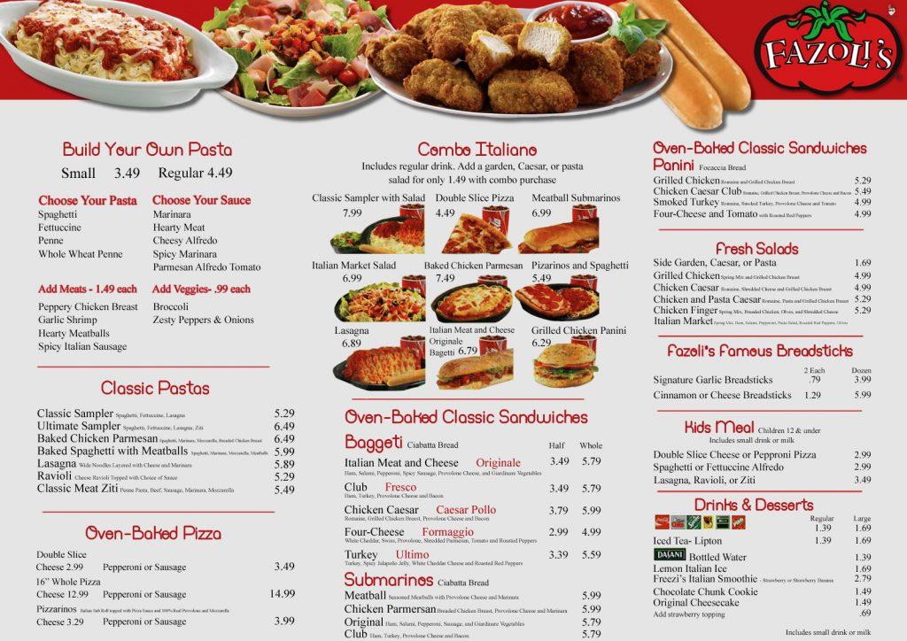 Fazoli's Menu Prices